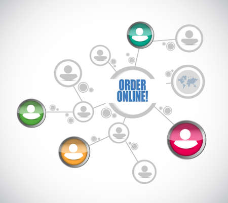 connection connections: Order online people diagram sign concept illustration design graphic
