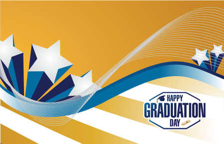 graduacion: feliz día de graduación estrellas tarjeta de ejemplo del diseño gráfico