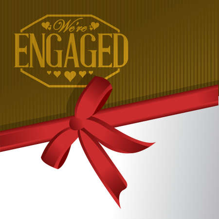 engaged: we are engaged sign stamp red ribbon background illustration design