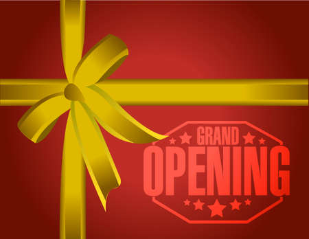 opening: grand opening gold gift ribbon background illustration design