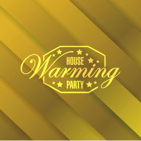 house warming: house warming party gold card background sign illustration design graphic