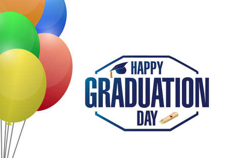 successful student: happy graduation day balloons card sign illustration design graphic