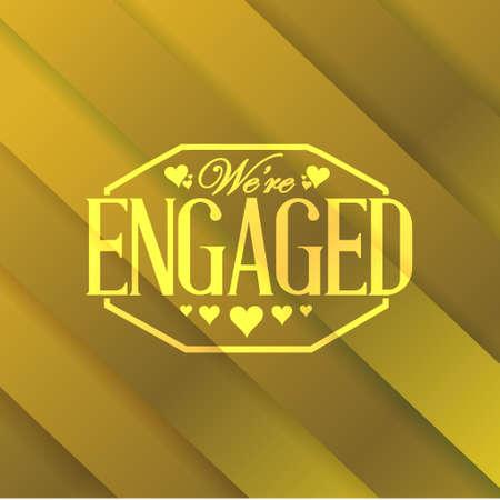 engaged: we are engaged stamp gold card background illustration design