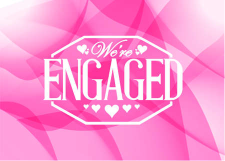 we: we are engaged sign stamp pink abstract background illustration design