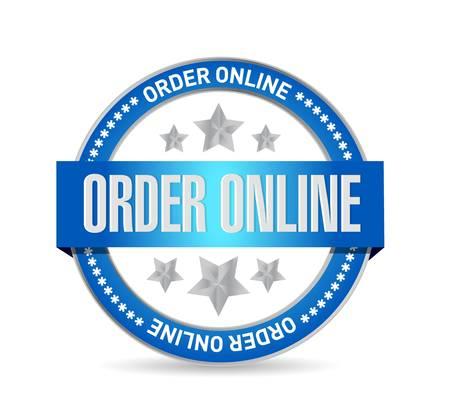 order online: Order online seal sign concept illustration design graphic