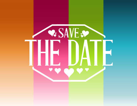 exclaim: save the date color lines card illustration design graphic