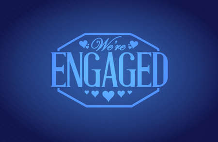 engaged: we are engaged seal sign over a blue texture background illustration design