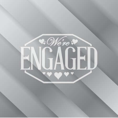 metallic background: we are engaged stamp metallic background illustration design