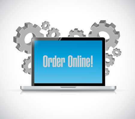 shopping questions: Order online computer sign concept illustration design graphic