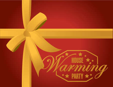 house warming: house warming party gold ribbon background sign illustration design graphic Illustration