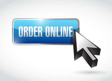 klik: Bestel online-knop en cursor-concept teken illustratie grafisch