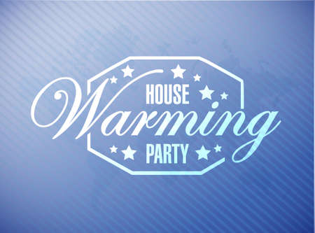 house warming party blue map background sign illustration design graphic