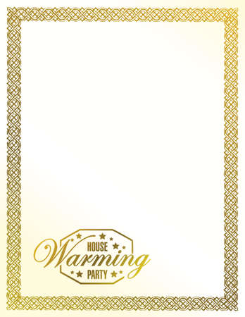 house warming: house warming party gold frame background sign illustration design graphic Illustration