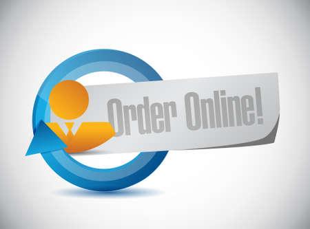 order online: Order online people cycle sign concept illustration design graphic