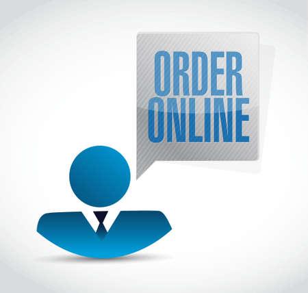 order online: Order online businessman message sign concept illustration design graphic