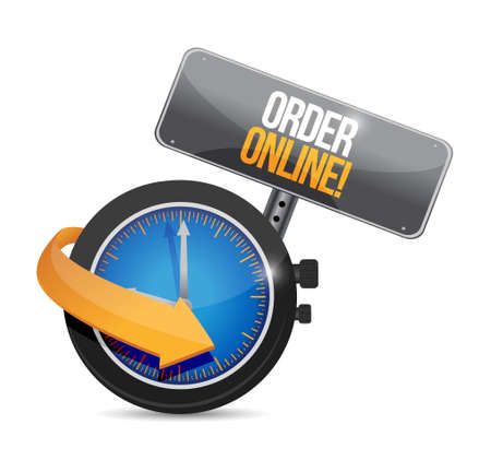 shopping questions: Order online time sign concept illustration design graphic Illustration