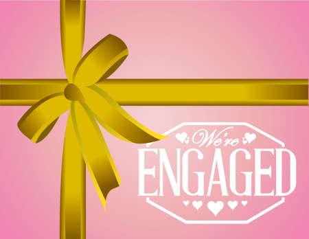 engaged: we are engaged sign stamp gift background illustration design