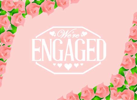 engaged: we are engaged stamp over pink roses background illustration design