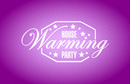 house warming: house warming party purple background sign illustration design graphic