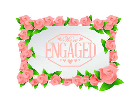 engaged: we are engaged stamp seal and roses board illustration design