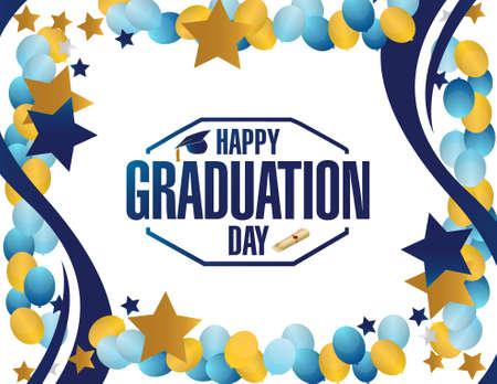graduacion: feliz día de la graduación frontera globo del partido diseño gráfico ilustración Vectores