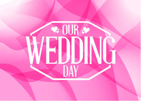 our: our wedding day shapes card illustration design