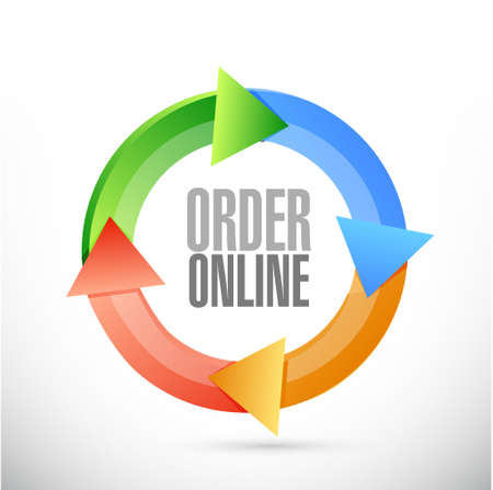 order online: Order online color icon cycle sign concept illustration design graphic