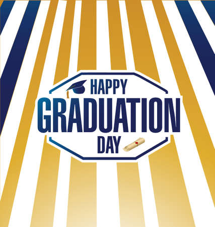 major: happy graduation day luxury gold sign card illustration design graphic