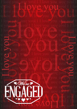 we are engaged stamp I love you background illustration design