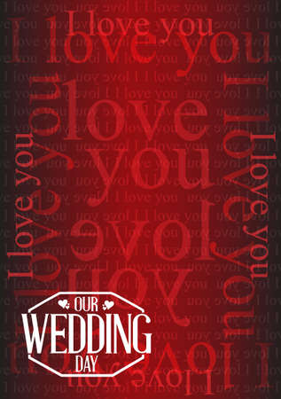 love stamp: our wedding day stamp I love you background illustration design