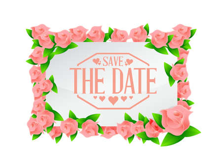 save the date flowers board sign illustration design graphic Ilustracja