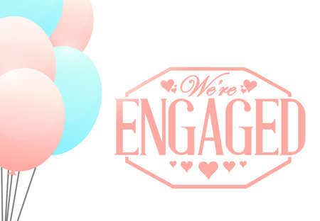 we are engaged stamp balloon background illustration design
