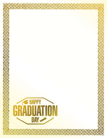 happy graduation day golden border illustration design graphic Ilustrace