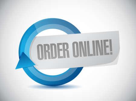 order online: Order online cycle sign concept illustration design graphic