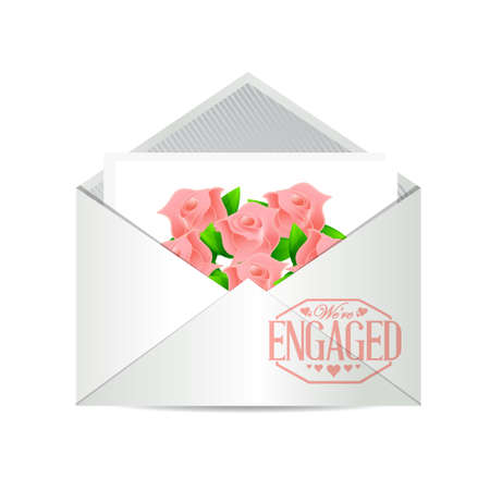 engaged: we are engaged invite stamp illustration design
