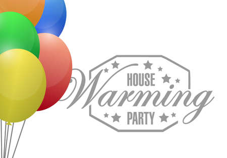 house warming: house warming party balloon sign illustration design graphic