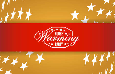 house warming: house warming party stars background sign illustration design graphic