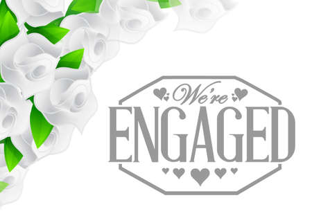 engaged: we are engaged stamp roses border illustration design