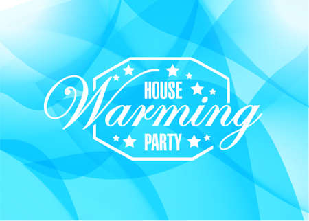 house warming: house warming party abstract blue background sign illustration design graphic