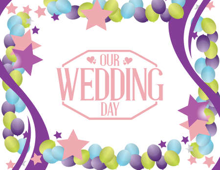 our: our wedding day party balloon background illustration design Illustration
