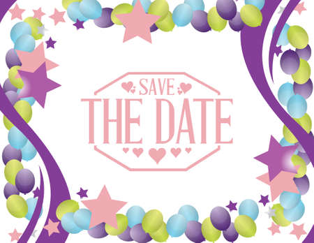 pastel colour: save the date party card sign illustration design graphic