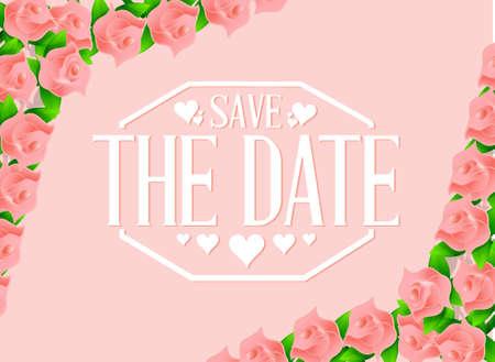 save the date roses border background sign illustration design graphic