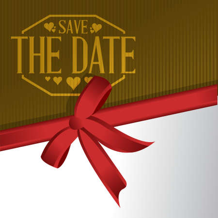 gift ribbon: save the date gift ribbon card illustration design graphic