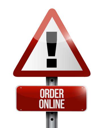 order online: Order online warning sign concept illustration design graphic