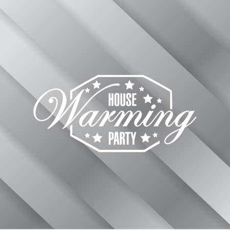 house warming: house warming party metallic card background sign illustration design graphic