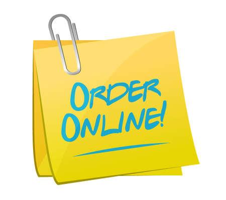 computer keys: Order online memo post sign concept illustration design graphic Illustration
