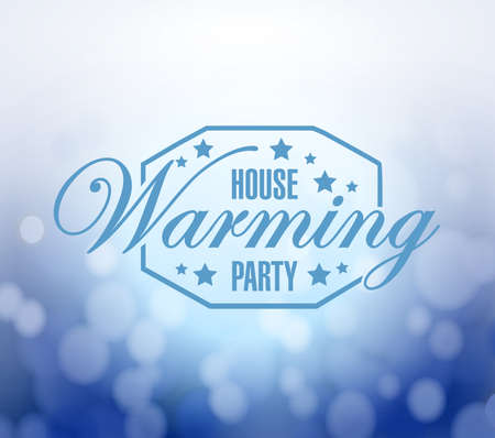 house warming: house warming party bokeh background sign illustration design graphic Stock Photo