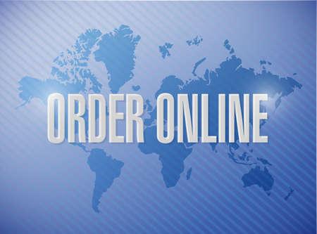 order online: Order online international map sign concept illustration design graphic