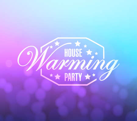 house warming party: house warming party bokeh background sign illustration design graphic Stock Photo