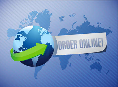 Order online globe sign concept illustration design graphic